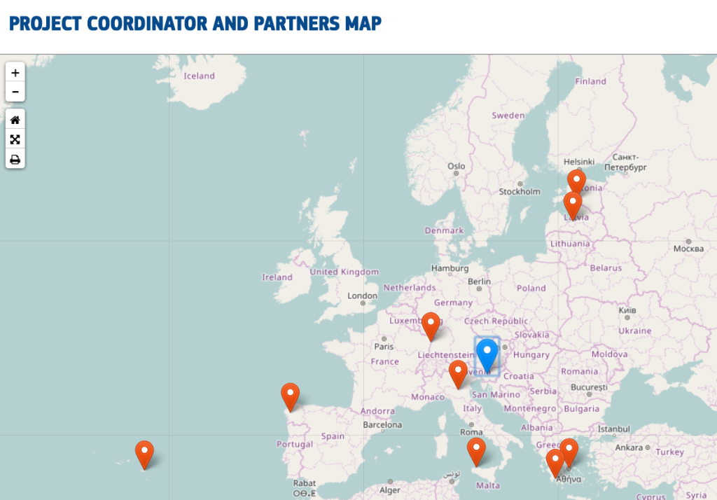Project coordinator and partners map